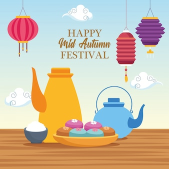 Dibujos animados de festival chino de mediados de otoño