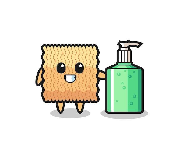 Dibujos animados de fideos instantáneos crudos con desinfectante de manos, diseño de estilo lindo para camiseta, pegatina, elemento de logotipo