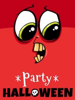 Dibujos animados de fiesta de halloween con monstruo