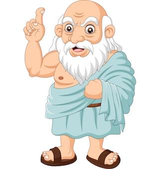 Dibujos animados filósofo griego antiguo