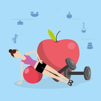 Dibujos animados de fitness de salud