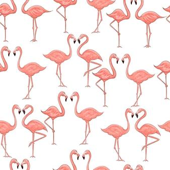Dibujos animados de flamenco rosado de patrones sin fisuras en blanco