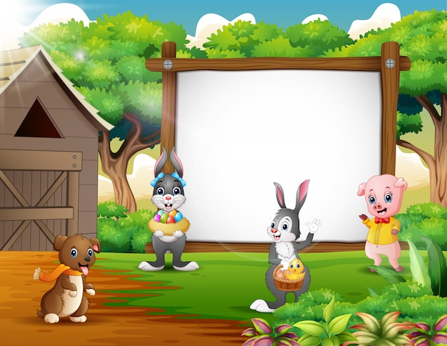 Dibujos animados de fondo de pascua con animales de granja