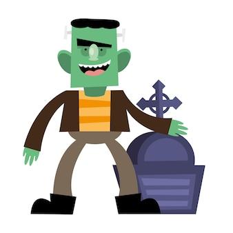 Dibujos animados de frankenstein de halloween con tumba, felices fiestas y miedo