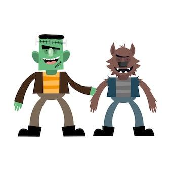 Dibujos animados de frankenstein y hombre lobo de halloween, felices fiestas y miedo
