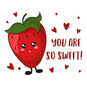 Dibujos animados de fresa kawaii en blanco, plantilla de tarjeta