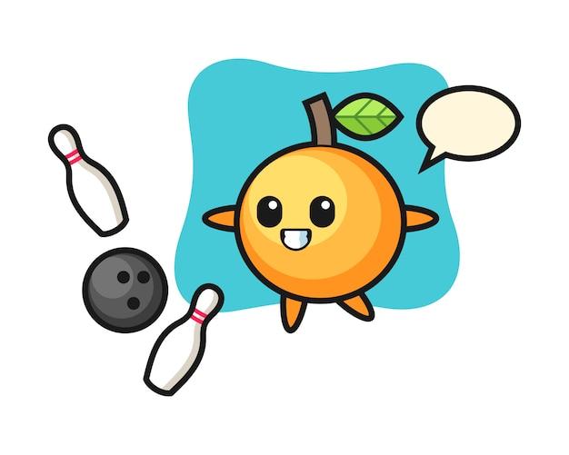 Dibujos animados de fruta naranja está jugando bolos