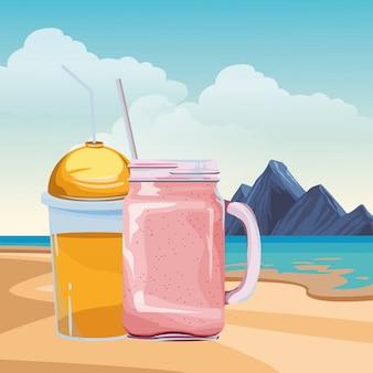 Dibujos animados de frutas batido tropical bebida