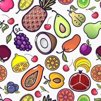 Dibujos animados de frutas y bayas de patrones sin fisuras frutas coloridas