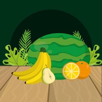Dibujos animados de frutas frescas