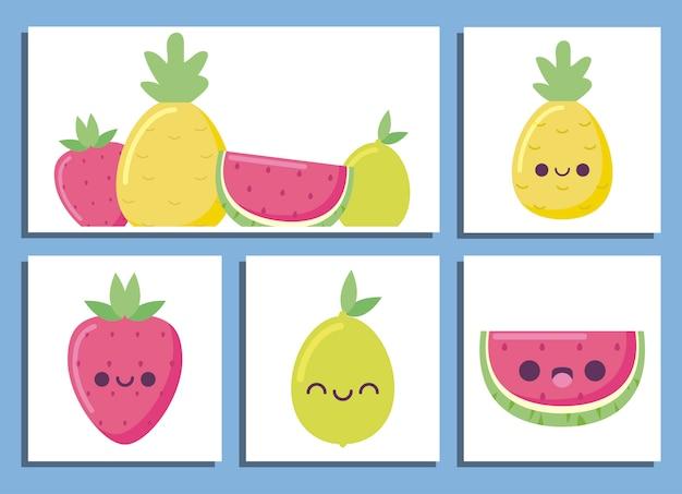 Dibujos animados de frutas kawaii