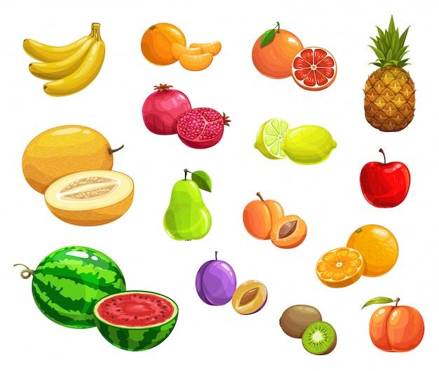 Dibujos animados de frutas naturales maduros iconos de alimentos frescos