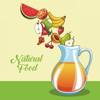 Dibujos animados de frutas naturales y orgánicas y jugos
