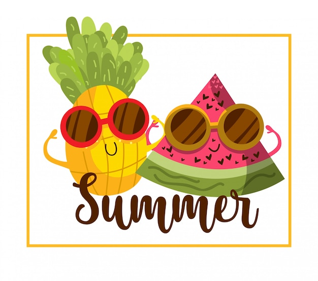 Dibujos animados de frutas de verano