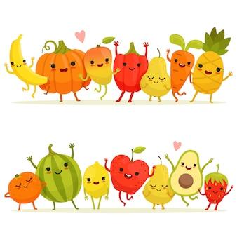 Dibujos animados de frutas y verduras en grupo.