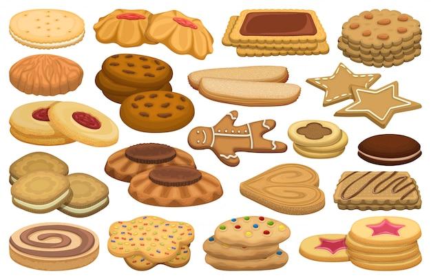 Dibujos animados de galletas set icono.