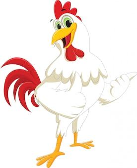 Dibujos animados de gallo feliz rindiendo pulgar