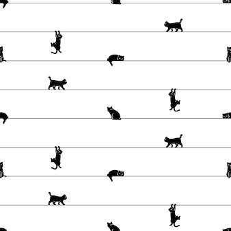 Dibujos animados de gatito de patrones sin fisuras gato