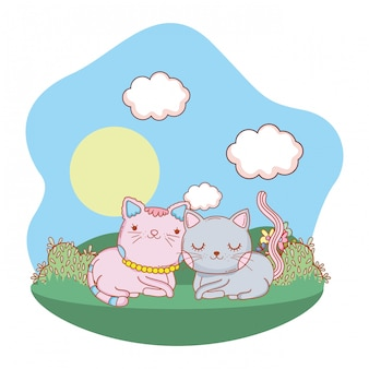 Dibujos animados de gato al aire libre