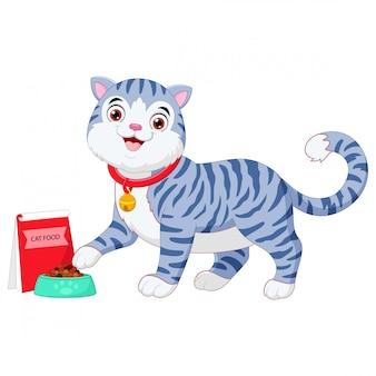 Dibujos animados gato comiendo con un plato de comida