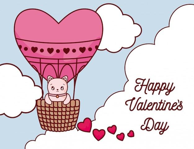 Dibujos animados de gato dentro de globo aerostático del día de san valentín