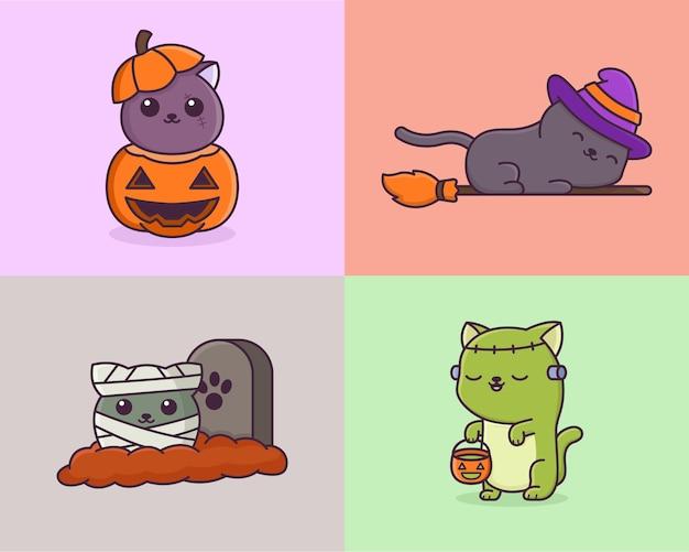 Dibujos animados de gato monstruo aterrador
