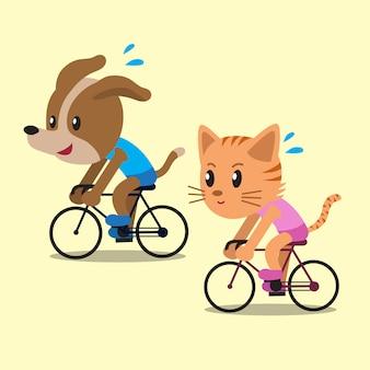 Dibujos animados de un gato y un perro en bicicleta.