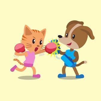 Dibujos animados de gato y perro haciendo entrenamiento de boxeo