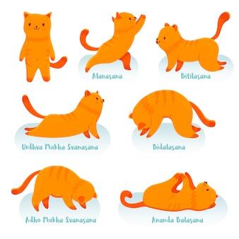 Dibujos animados gato rojo practicando yoga