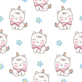 Dibujos animados de gato unicornio de patrones sin fisuras