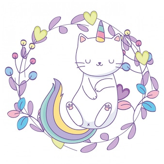 Dibujos animados de gato unicornio