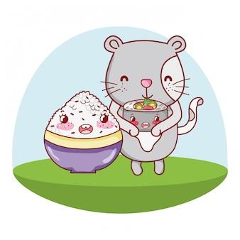 Dibujos animados de gatos y comida kawaii