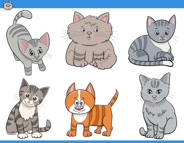 Dibujos animados de gatos y gatitos conjunto de personajes divertidos