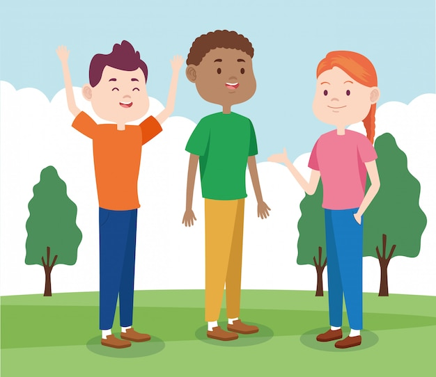Dibujos animados geniales amigos adolescentes en el parque