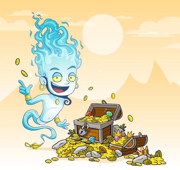 Dibujos animados de genios azules con lámpara y cofre del tesoro