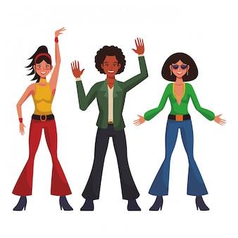 Dibujos animados de la gente del disco