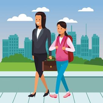 Dibujos animados de gente joven de la ciudad