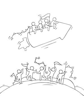 Dibujos animados de gente pequeña feliz con flecha inicial como cohete. doodle linda escena en miniatura de trabajadores y puesta en marcha del concepto. ilustración dibujada a mano para el diseño de negocios.