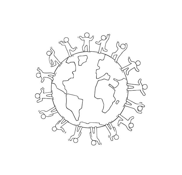 Dibujos animados de gente pequeña feliz de pie alrededor del mundo.