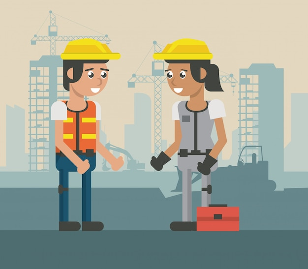 Dibujos animados geométricos de los trabajadores de construcion