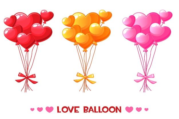 Dibujos animados de globos de corazón de colores, establecer feliz día de san valentín