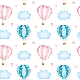 Dibujos animados de globos rosados y azules en el cielo entre nubes de patrones sin fisuras