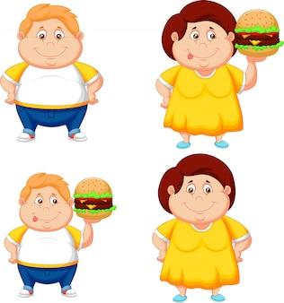 Dibujos animados de gordo chico y chica con gran hamburguesa