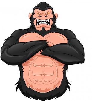 Dibujos animados de gorila en blanco