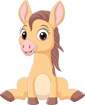 Dibujos animados gracioso bebé caballos sentado