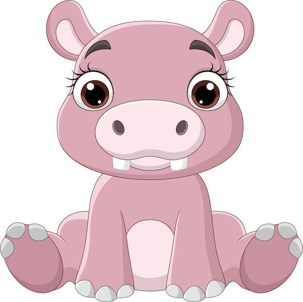 Dibujos animados gracioso bebé hipopótamo sentado
