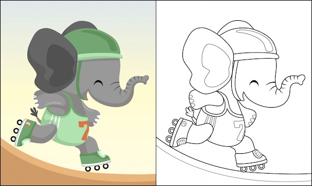 Dibujos animados gracioso elefante jugando patinar