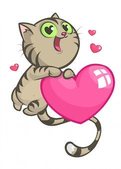 Dibujos animados gracioso gatito sosteniendo un corazón amor. ilustración para el día de san valentín.