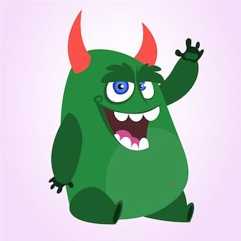 Dibujos animados gracioso monstruo agitando. ilustración vectorial para halloween