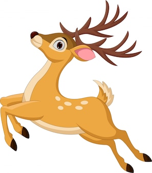 Dibujos animados graciosos ciervos saltando aislado